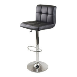 "Winsome Wood - Winsome Wood Stockholm Air Lift Stool - Swivel Square Grid Faux Leather Seat in - Comfort and dashing describes Stockholm Swivel Airlift Stool. Faux Leather Cushion with Grid Design in Black, Chrome Metal leg and base. Adjustable seat height 23"" to 31.5"". Assembly Require Barstool (1)"