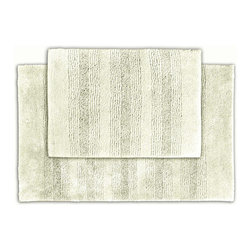 None - Westport Stripe Chalk Bath Rug Set of 2 - Classic and comfortable, the Westport Stripe bath collection adds instant luxury to the bathroom, shower room or spa. These two machine washable ivory rugs feature plush nylon that holds up to wear with non-skid latex backing.