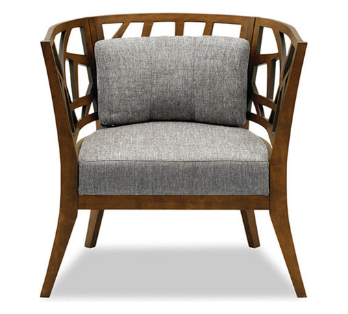 Bryght - Jenifer Barrel Back Lounge Chair - Take a seat on the Jenifer lounge chair. Made of eco-friendly hardwood in a warm cocoa stain, the Jenifer represents versatility with an avant-garde flair. Its modern and abstract asymmetrical patterned back and wide padded seating is sure to provide great comfort with a touch of oomph!