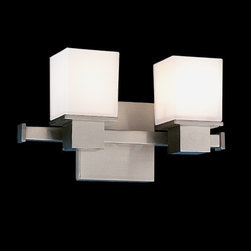 Hudson Valley Lighting - Hudson Valley Lighting | Milford Two Light Vanity Light - Design by Hudson Valley, 2001.The Milford Two Light Vanity Light was inspired by the 20th century design revolution that placed purpose and material before figure and ornament. This dual light sconce brings together cast metal and blown glass to form a clean-lined luminaire with brilliant functionality and cubed forms. Spring shade attachment. Hard-wired.