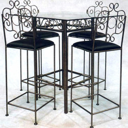 "Grace Collection - Wrought Iron Pub Table Base - Add Glass Top - Finish: Aged IronFrench Traditional styling is an elegant choice that is also an invitation to gather.  This bistro base is 42 inches high with square iron frame and scrolled detailing at the apron.  Finish choices are available and you can call us to order the glass top.  If you're after that elusive ornate style so rarely seen these days, you've finally found what you're looking for.  This square bar table is just what you need in your home if you would like to create an elegant dining area. * 42"" high Square French Traditional Bistro Table Base. 22"" x 22"" x 42"" tall.. Order the 36"". Glass not included. Bar stools not included"