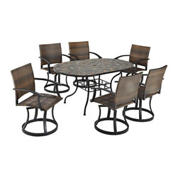 HomeStyles - Stone Harbor 7PC Dining Set with Newport Swiv - Powder-coated steel. Synthetic-weave is both moisture and weather resistant. Nylon glides on legs for stability. 2-inch umbrella opening. Table Dimensions: 65 in. W X  39.5 in. D X  29.5 in. H. Chair Dimensions: 24.5 in. W X  24.5 in. D X  36 in. HCreate a tranquil and majestic atmosphere with The Stone Harbor 7PC Dining Set. The table top is constructed of small, square, hand-applied slate tiles in a naturally occurring gray variation; no two tables alike; featuring a center opening that can be used for an umbrella or can be closed with the included black cap for a continuous surface.  The base is constructed of powder coated steel in a Black finish. The Newport Swivel Chairs features a two-tone walnut brown CycropleneTM, synthetic-weave, seat and back over a powder-coated steel frame in a black finish. The synthetic-weave is both moisture and weather resistant and required very little maintenance.  Adjustable, nylon glides prevent damage to surface caused by movement and provide stability on uneven surfaces.  Chairs feature ball bearing 360 degree swivel. Seat height measures 18 inches high.  Set includes dining table and four swivel chairs. Table Size:  65w 39.5d 29.5h.  Chair Size: 24.5w 24.5d 36h.