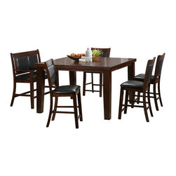 Homelegance - Homelegance Weldon Counter Height Table in Espresso Dark Cherry - A classic addition to your home, the Weldon collection provides the tabletop space you need with two options. The tables - traditional dining height and counter height - each feature an easily stored butterfly leaf and decorative routing. Side chairs are covered with dark brown bi-cast vinyl. The Counter height table has an optional love seat bench available. The transitional look of the collection is rounded out with an Espresso Dark Cherry finish in ash veneer.