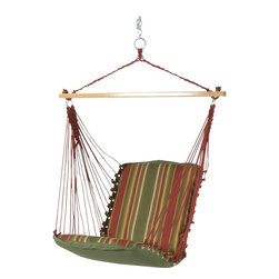 Pawleys Island - Cushioned Single Swing - Trellis Garden Stripe - A longtime customer favorite, for good reason! Our cushioned single swings capture a whole lot of relaxation potential in not much space.  While compact, our inspired little swings never feel small. The back and seat cushions are both an ample 2-feet square, though that isn't what gives these airborne chairs their compelling sense of spaciousness. Credit for that goes to the 40-inch spreader bars, which hold the cotton-soft DuraCord hanging ropes open wide, so it seems as if the swing chairs grow larger the higher up you go. We use DuraCord for the fabric as well, because it handles weather like a charm, resistant to staining, rot, mold and mildew, yet all the while is as soft as cotton. Not to mention that it's amazingly colorfast.