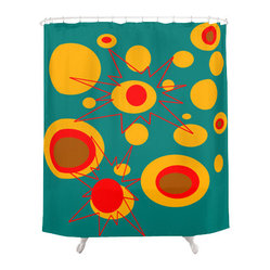 Crash Pad Designs - Crash Pad Designs Funky Shower Curtain -  Oliver - In a burst of color and mod design, this shower curtain will add fun and sophistication to your bathroom decor. This bright, retro-inspired curtain is made from 100 percent polyester, and features 12-stitched button holes for hanging.
