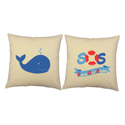 RoomCraft - SOS Whale Throw Pillow Covers 14x14 Natural Cotton Shams - FEATURES: