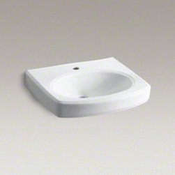 "Kohler - Kohler K-2028-1-0 White Pinoir Pinoir 22"" Wall Mount Bathroom Sink - Product Features:Rectangular basin gives a classically clean look to your bathroom countertopCovered under Kohler s limited lifetime sink warrantyConstructed of Vitreous china providing a classic look and feelVersatile choice for a wide range of bathroom decorating stylesRidged edges and subtle curvesWall mount installation allows freedom to position sink at any desired locationCenter drain location provides optimal draining capabilityEquipped with overflow drain - works in tandem with the primary to prevent an overflow or spillageAll hardware needed for installation includedProduct Technologies / Benefits:Wall Mount Sinks: A space saving option, while, at the same time delivering a sleek installed appearance, gives your bathroom an expressive statement.Product Specifications:Height: 7-1/2"" (measured from the bottom of sink to the top of the rim)Overall Width: 18"" (measured from the back outer rim to the front outer rim)Overall Length: 22"" (measured from the left outer rim to the right outer rim)Basin Width: 12"" (measured from the back inner rim to the front inner rim)Basin Length: 18"" (measured from the left inner rim to the right inner rim)Basin Depth: 4"" (measured from the center of basin to the rim)Installation Type: Wall mountNumber of Faucet Holes: 1Drain Outlet Connection: 1-3/4""Variations:K-2028-1: This modelK-2028-4: 4"" faucet center version of this modelK-2028-8: 8"" faucet center version of this model"
