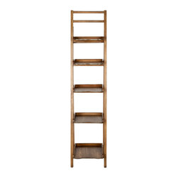 Safavieh - Asher Leaning Etagere - Its a tall order. But the Asher Leaning tagre has enough backbone to get the job done. Crafted with pine wood in a medium oak finish, its  multiple shelves and chic, casual style are perfect for displaying books, magazines, and all of lifes modern accessories in the study, kitchen, or living room.