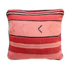 Baba Souk - Pink Striped Moroccan Pillow - While in Marrakesh, I noticed a new trend, these wonderful pillows with colorful candy stripes! While wandering through the souk and visiting the coolest riads, (which are traditional guesthouses usually decorated with great folkloric finds, the hippest places to stay when traveling to Marrakesh) these beautiful pillows with colorful stripes were calling my name!