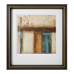 """Roma - Industry II - Vertical shapes suggest an urban landscape releasing a veil of smoky air in this compelling original abstract. Juxtaposed with a modern frame, Industy I elicits captivation whether hung over a modern mantle or accessorized with a rustic bed. 37""""W x 40""""H; Frame features a hand-applied leafed finish in brown; Tones of blues, browns and neutrals; All mouldings manufactured in Italy using only woods from active reforestation programs. This piece is delivered in recycled or environmentally friendly packaging materials whenever possible."""