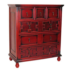 Wayborn - Wayborn The English Tall Chest in Red - Wayborn - Chests - 5541X