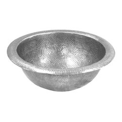Houzer - Houzer HW-AUG2RS August Round, Self Rimming, Lustrous Pewter Sink with Overflow - Houzer Bathroom Hammerwerks Pewter August Lavatory Sink Self Rimming