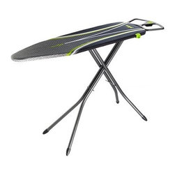 Minky Homecare Ergo Ironing Board with Prozone Cover - People don't come in just a few preset sizes - why should the Minky Homecare Ergo Ironing Board with Prozone Cover? Backaches from awkward positioning are a thing of the past with this impressive ironing board's infinite height adjustment capability, offering you an ergonomic experience that will help you move faster and feel better. In addition, the board has been designed specifically to work within natural arm movements, providing increased speed and comfort. This includes right- and left-handed iron holders on the end that are angled away from the user for an easier reach. On top of the board surface sits an innovative Prozone cover with strategically placed reflective surfaces that help speed the ironing process, so you won't have to spend your day in front of a basket of laundry.About Minky HomecareWith a history that stretches clear back to the mid-nineteenth century, Minky Homecare has the experience and integrity to ensure that your housework is quick and easy. Part of Vale Mill, Minky Homecare is a family owned and run business, which means personal care and commitment to developing the very best cleaning products on the market. From prepacked cleaning cloths to ironing boards, from air driers to household cleaners and organizers, Minky has been on the cutting edge of homecare for over half a century. As a result, they have grown into international markets and have even been granted a warrant by the British Royal Household. With Minky Homecare, housework is a pleasure and does itself when you don't want to.
