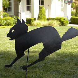 """Halloween Cat Ground Stake - Let the cat-and-mouse games begin with our aluminum stake that's easy to position in the yard or a potted plant. 43"""" wide x 39.5"""" high x 2.75"""" thick Made of iron with a blackened finish. Catalog / Internet only."""