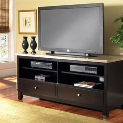 Steve Silver Co. - Monarch Marble Top TV Cabinet in Black Finish - Beautiful composite marble top. Made of marble, stone and man-made materials. 2 rows of open shelving & 2 drawers allow storage for all of your media. Multi-step Black finish. Contemporary style. Corner block construction. Tongue and groove joints. Select hardwood solids material. Some assembly required. 60 in. W x 22 in. D x 29 in. H (169 lbs.)