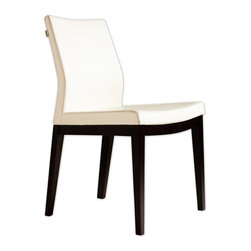 "sohoConcept - Pasha Wood Dining Chair - Set of 2 (White Lea - Fabric: White LeatheretteSet of 2. An ergonomic dining chair with a comfortable upholstered seat. Backrest on solid beech legs tipped with screwed plastic caps. Seat has a steel structure with ""S"" shape springs for extra flexibility and strength. Steel frame molded by injecting polyurethane foam. Seat is upholstered with a removable velcro enclosed leather, PPM or wool fabric slip cover. Suitable for both residential and commercial use. Pictured in Cream Leatherette. 19 in. W x 20 in. D x 34 in. H, Seat Height: 17.5 in."