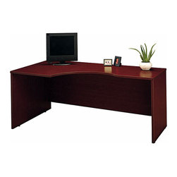 "Bush Business - Left Corner Module in Mahogany - Series C - The Series C Mahogany Left Corner Module easily mounts to desk shells as a left return and can accommodate one 3-drawer or 2-drawer pedestal.  This stylish module features a durable, scratch & stain resistant melamine surface and PVC edge banding. * Mounts to desk shells as left return. Desktop & modesty panel grommets for wire access. Accommodates one 3-Drawer or 2-Drawer Pedestal. Accepts Keyboard Shelf in corner position. Sturdy 1""-thick top surface. Durable melamine surface resists scratches and stains. Durable PVC edge banding protects desk from bumps and collisions. 70.984 in. W x 35.472 in. D x 29.842 in. H"