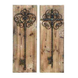 UMA - Giant Scrolled Keys Wall Panels Set of 2 - Two large antique style keys with different scrolled tops are set on a backdrop that resembles distressed barn wood