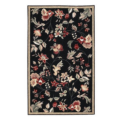 None - Hand-hooked Coolidge Wool Rug (3'6 x 5'6) - This divine hand-hooked Coolidge wool rug has vibrant floral designs on a pitch-black background. The 100-percent wool is in shades of black,tan,celery,ivory,coral,and burgundy red. This is the perfect rug to draw out dark,wooden floors.