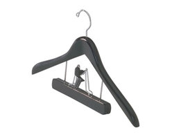 Richards Homewares Inc - Ebony Coat Hanger With Pant Skirt Clip - Its great to coordinate the hangers in your closet. To maximize the overall look of organization in your closet all your hangers should match. This is a substantial well shaped hanger in a glossy ebony (black) finish.  We also offer this hanger in a version without the clamp or a single clamp without the coat hanger completing your closet suite.