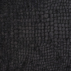Black Alligator Print Shiny Woven Velvet Upholstery Fabric By The Yard - This alligator velvet is truly unique in the way that it shines. In addition, it is very durable and comfortable too! This material is great for residential, commercial and hospitality upholstery.