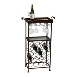 Cyan Design - New York Wine Stand - New york wine stand - mahogany and copper