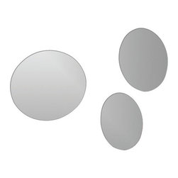 "Set of 3 Adhesive Round Mirrors Diameter 6.3 + 7.5 + 8.2-Inch - This set of 3 adhesive round mirrors is in acrylic and contains 3 mirrors of different sizes. Fast and easy, you just have to position the adhesives on the back of the mirrors and stick them on the wall or tile wall. Now you can give an ordinary room a ""designer's touch"" in minutes with these lightweight mirrors. This set includes 3 pieces, diameter 6.3 + 7.5 + 8.2-Inch and thickness 0.08-Inch. Only apply, peel and stick mirrors to smooth, clean, and fully cured painted surfaces. Do not apply, peel and stick mirrors to fresh paint, or to delicate surfaces like fabric and wallpaper. Clean with warm soapy water. Clever and practical, this set of adhesive round glass mirrors will give your bathroom a modern and elegant style! Complete your decoration with other products of the same collection. Imported."