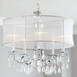 "Horchow - Hampton Shaded Chandelier - Hampton Shaded ChandelierDetailsHandcrafted chandelier.Made of polished-chrome finished brass and clear crystals. Silk shade.Uses five 60-watt candelabrum bulbs. Ceiling canopy included.Assembly required. Direct wire; professional installation recommended.24""Dia. x 23""T with 8'L chain. Imported. Boxed weight approximately 19.5 lbs.Please note that this item may require additional shipping charges."