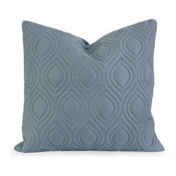 iMax - iMax IK Kavita Blue Linen Quilted Pillow w/ Down Fill X-65124 - Iffat Khan has developed a luxurious collection of down pillows with quilted details and top of the line fabrics. Iffat's refined aesthetic is evident in her collection which combines clean modern, classic casual and timeless traditional styles with her own creative twist.
