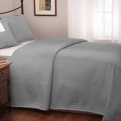 None - Roxbury Park Quilted King Size Platinum Coverlet - Add some demure charm to your bedroom with this beautiful quilted king-sized coverlet. The quilted design creates a subtle look,and the pale blue color will look great with many different bedroom furniture sets. Its cotton material is comfy and soft.