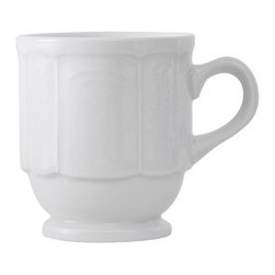 Tuxton - Chicago 9 oz Stackable Mug Embossed Pattern in Porcelain White - Case of 36 - Our plates and dishes are designed to combine with insulated domes bases and other innovative food systems for extended heat retention. Chicago's traditional embossed design has the flexibility to be used for both casual and fine dining, appealing to the finest of tastes.