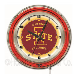 Holland Bar Stool - Holland Bar Stool Clk19IowaSt Iowa State 19 Inch Neon Clock - Clk19IowaSt Iowa State 19 Inch Neon Clock belongs to College Collection by Holland Bar Stool Our neon-accented Logo Clocks are the perfect way to show your school pride. Chrome casing and a team specific neon ring accent a custom printed clock face, lit up by an brilliant white, inner neon ring. Neon ring is easily turned on and off with a pull chain on the bottom of the clock, saving you the hassle of plugging it in and unplugging it. Accurate quartz movement is powered by a single, AA battery (not included). Whether purchasing as a gift for a recent grad, sports superfan, or for yourself, you can take satisfaction knowing you're buying a clock that is proudly made by the Holland Bar Stool Company, Holland, MI. Clock (1)