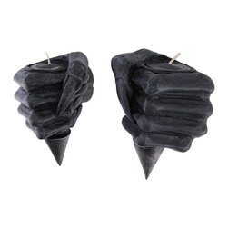 Pair of Demon Hand Tea Light Wall Sconces - This pair of wall sconces add a unique decorative flair to any room! Each one is shaped like a demon hand, clutching a torch. Made of cold cast resin, they measure 5 1/2 inches tall, 5 inches long, 3 1/4 inches wide and can accommodate tea light or votive candles up to 1 1/2 inches in diameter (2 tea light candles are included). They easily mount to the wall with nails or screws, and look great on either side of a door.