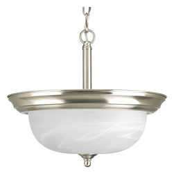 Progress Lighting - Progress Lighting P3927-09 Two-Light Close-To-Ceiling With Alabaster Glass - Two-light semi-flush featuring dome shaped glass with solid trim and decorative knobs. Chain and ceiling mounts both included.
