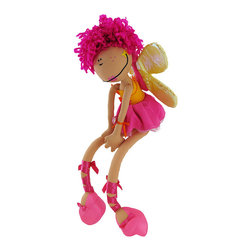 Happy House Sunset Fairy Doll with Butterfly Wings - This adorable doll is sure to make your little girl smile! She is dressed in colors you would see in the sky at sunset, has curly pink pony tails, shiny butterfly wings, and pretty pink ballerina slippers. Made of 100% polyester, the doll measures 18 inches long, and is recommended for ages 3 and up. It is recommended to wipe clean with a sponge, only.