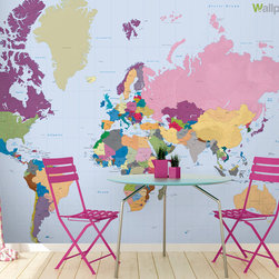 Colourful Rainbow World Map Wallpaper - Our Colourful World Map is rich in colour and rainbow hues! Use it to liven up any room in your house.