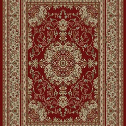 Ottomanson - Dark Red Traditional Oriental Medallion Design Rug - Royal Collection offers a wide variety of machine made modern and oriental design area rugs with durable, stain-resistant pile in trendy colors.
