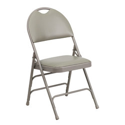 Flash Furniture - Flash Furniture Hercules Series Triple Braced Gray Vinyl Metal Folding Chair - This Triple Braced Plush Comfort Hercules Folding chair provides superior support and comfort. This portable folding chair can be used for Parties, Graduations, Sporting Events, School Functions and in the Classroom. This chair will be the perfect addition in the home when in need of extra seating to accommodate guests. When no longer needed, simply fold away as a compact storage solution. This economically priced chair will endure some heavy usage with an 18-gauge steel frame, triple braced and leg strengthening support bars. [HA-MC705AV-3-GY-GG]