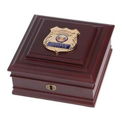 Flags Connections - Police Department Medallion Desktop Box - Police Department Medallion Desktop Box is made from Mahogany colored wood, and the outside dimensions measure 8-Inches by 8-Inches by 4-Inches. The desktop box features a brass lock and key, as well as a felt-lined interior and padded bottom to prevent scratches. The Police Department Medallion Desktop Box is the perfect gift for an individual who is a member of the Police Force.