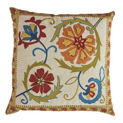 Global Floral Pillow - Add a pop of color in the office with these throw pillows for client seating or even your computer chairs.