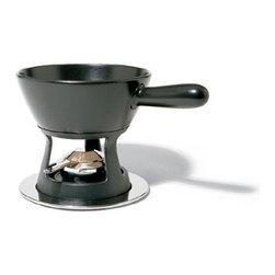 Alessi - Alessi Mami Fondue Set - Fondue set composed of long-handled casserole dish in ceramic, cast-iron holder, heat diffusing plate in aluminum, burner and tray in 18/10 stainless steel.  Manufactured by Alessi.Designed in 2003.