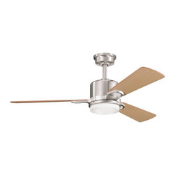 Kichler Lighting Celino Contemporary Ceiling Fan - This contemporary ceiling fan combines brushed nickel and oak blades as well as an unobtrusive light that fits right into the design. It's like a modern pendant with three blades to keep you cool.