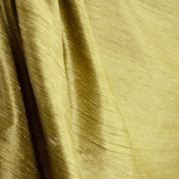 57400 11 Solid Antique Gold Silk Drapery Fabric By The Yard - A greenish gold raw silk, 57400 color 11 would make gorgeous window treatments, bedding, pillows and more.