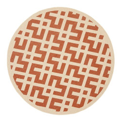 """Safavieh - Indoor/Outdoor Courtyard Round 5'3"""" Round Terracotta - Bone Area Rug - The Courtyard area rug Collection offers an affordable assortment of Indoor/Outdoor stylings. Courtyard features a blend of natural Terracotta - Bone color. Machine Made of Polypropylene the Courtyard Collection is an intriguing compliment to any decor."""
