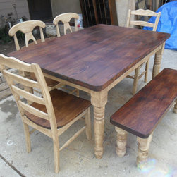 Dining Set From Reclaimed Wood by Old Pine - The blend of old and new wood makes a beautiful farmhouse focal piece. The blend of chairs and a bench is reminiscent of a true country home.