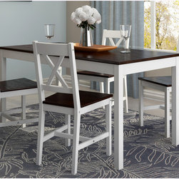 CorLiving - CorLiving Cappuccino/ White Dining Table (Set of 5) - Add comfort to your kitchen with this practical shaker-style table and chair set from CorLiving. This gorgeous set is featured in a white and cappuccino stain and accents any decor setting.