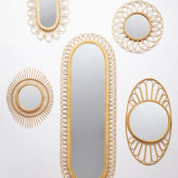 Midcentury Wicker Mirror - When I saw these mirrors, I think my heart stopped. They are some of the prettiest mirrors I have ever seen. I don't know if I could just get one; I like them all together in a sort of gallery wall (as pictured).