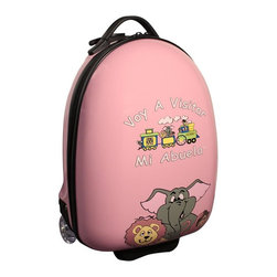 """Mercury Luggage - Children's Carry-on Luggage in Pink - Logo in Spanish. Carry-on approved. Clear in-line wheels. Lined interior . Internal zippered divider . Fun, bright and durable. 12 in. L x 9 in. W x 18 in. H (4 lbs)They will enjoy the pictures of the animals on the front and back and so will the Parents & Grandparents. It has a a push button adjustable telescopic handle & pulls out to (18 in. or 10 in.), and a top center carry handle, 2.5 in. Clear Plastic in-line skate wheels with protective guards. On the bottom is a foot-support for stand alone balance, has a """"U"""" shaped zipper opening. The inside has has nylon lining, tie down straps on one side with a """" U """" shaped zipper on the other side to protect personal items."""