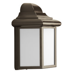 Progress Lighting - Progress Lighting P5821-20 One-Light Wall Lantern With White Acrylic Diffuser - One-light energy efficient CFL Wall Lantern with transitional styling and an Antique Bronze finish.