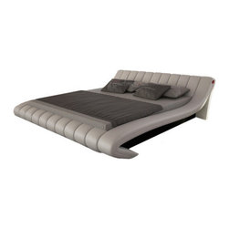 JNM Furniture - Celeste Modern Light Gray Leather Upholstered Bed, King Size Bed - This bed features a plush, romantic, tapered design. Beautifully upholstered in a light grey leather & available in King or Queen, the Celeste bed is sure to impress.